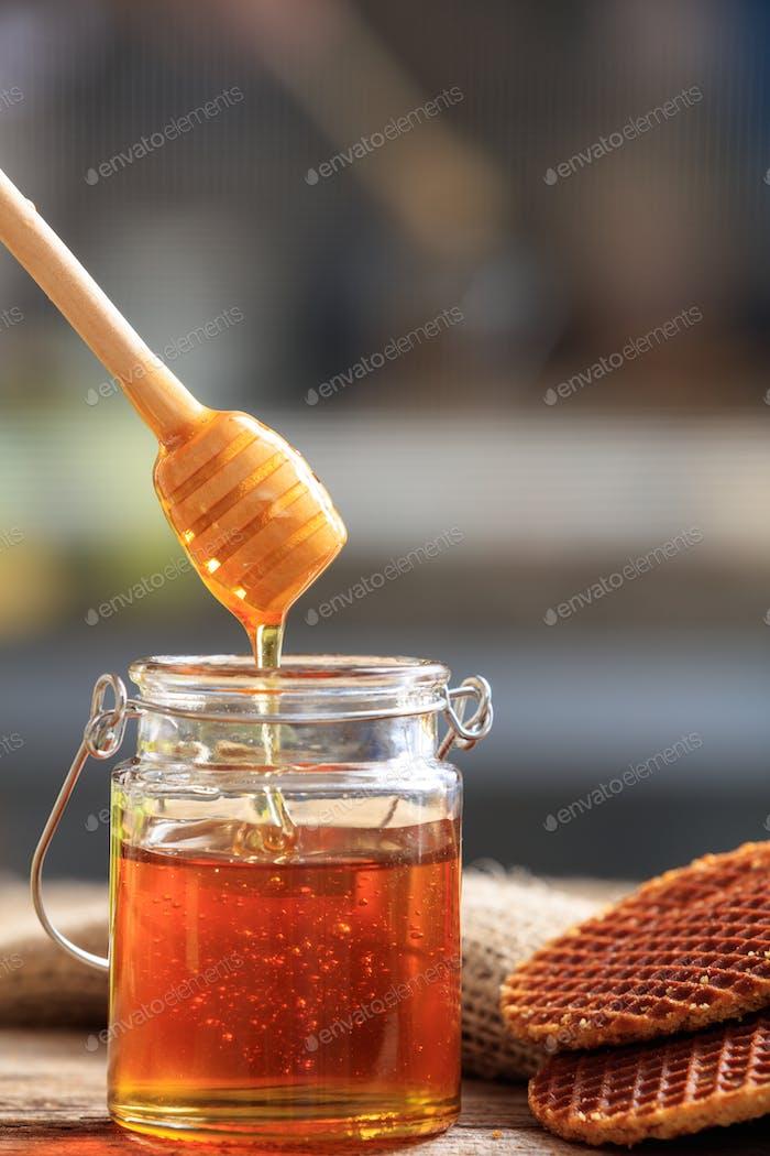 Crispy waffles and honey