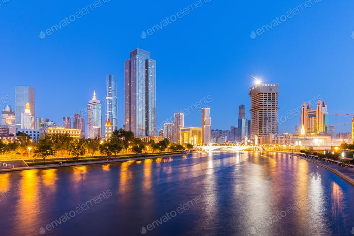 night view of tianjin cityscape