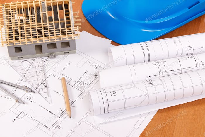Electrical diagrams, accessories for engineer jobs and house under construction