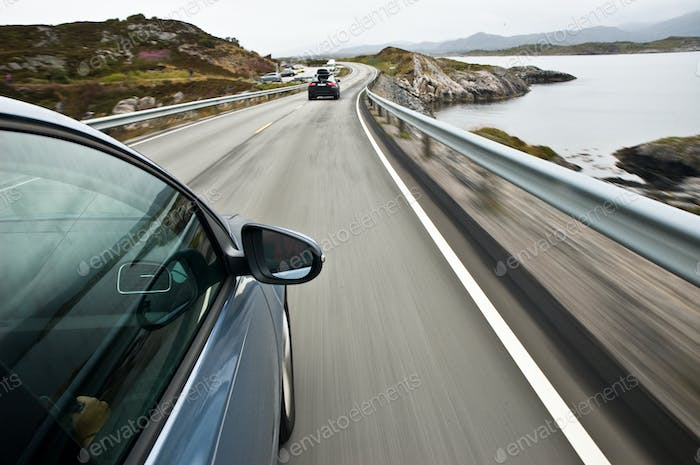 car driving the Norwegian national road 64 known as the Atlantic road