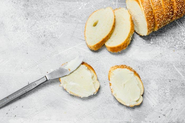 Das Frühstück. Butter-Sandwich.