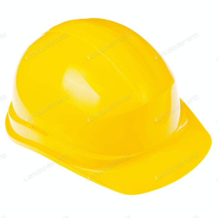 Yellow plastic hard hat isolated on white background. Safe labor concept