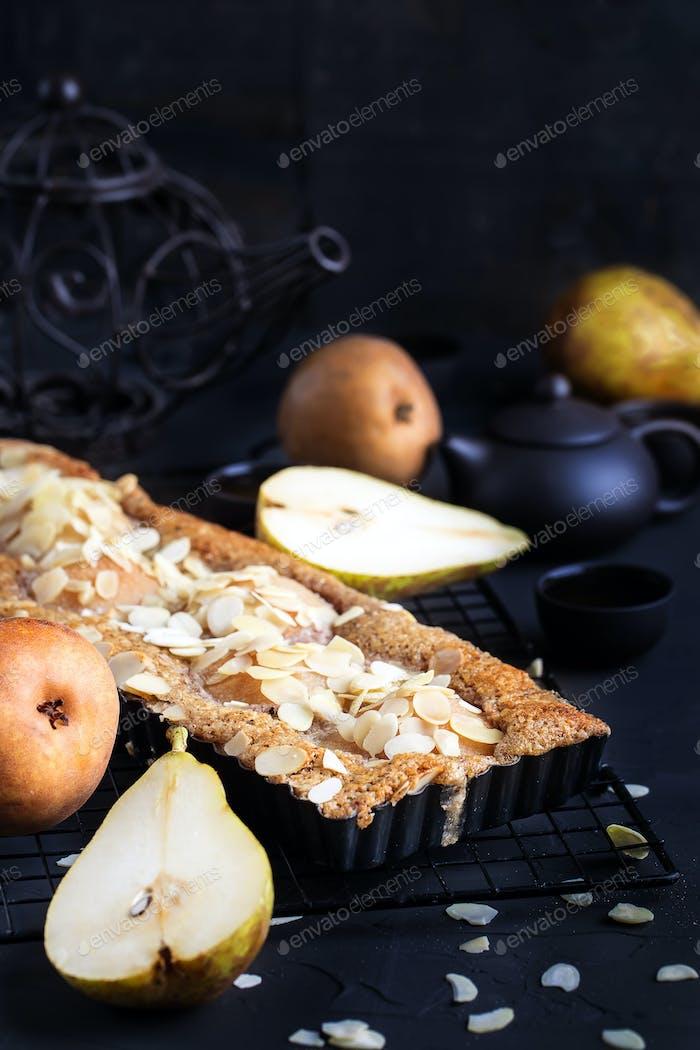 Pear frangipane tart background