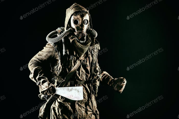 Survived in ecological cataclysm human in gas mask