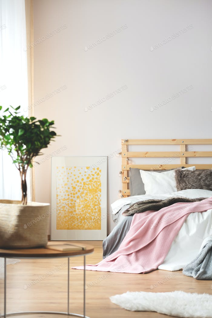Plant and poster in bedroom
