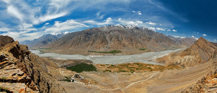 Aerial panorama of Spiti valley and Key gompa in Himalayas