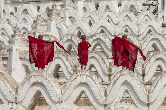 Back side of three young monk change the robe on the Mya Thein Tan Pagoda at bagan