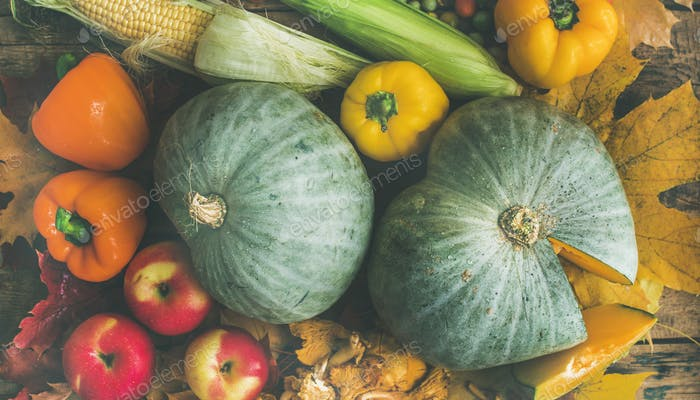 Fall colorful vegetables assortment over wooden table background