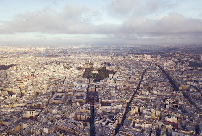 vista Aéreo de sacre coeur en paris france