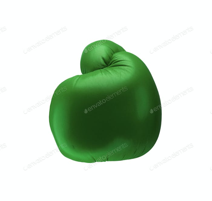 Green boxing glove isolated on white background