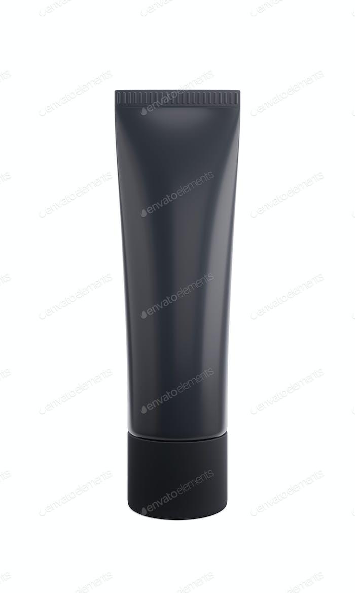 Schwarzer Matt Kunststoffschlauch mit Kappe für Kosmetik, Körpercreme, Haut