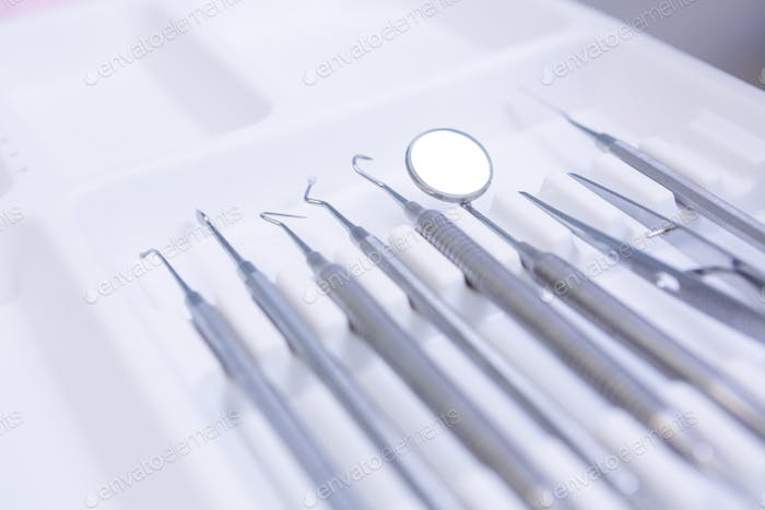 High angle view of dental equipments