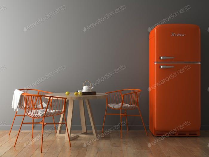 Interior with orange fridge 3D illustration
