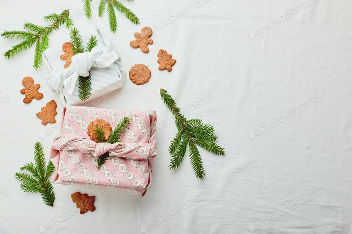 Christmas eco-friendly gift wrap in traditional japanese furoshiki style