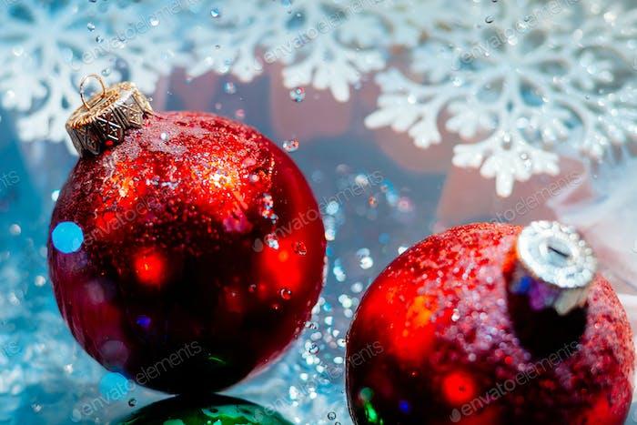 fancy new year frozen balls with ice water drops bokeh