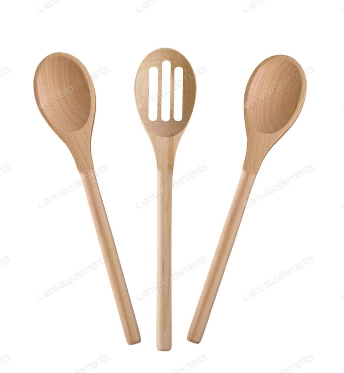 Wooden cooking utensils isolated