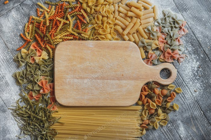 Rustic wooden plaque with space for your text, lined on all sides  different pasta