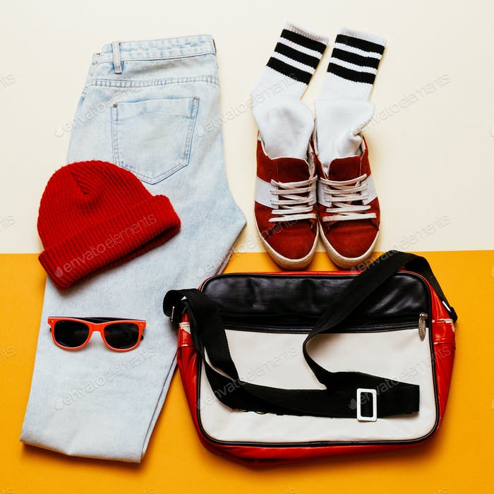 Urban active style set. Outfit jeans, cap, shoes bag