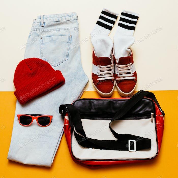 Urban active style set. Outfit jeans, cap, shoes bag