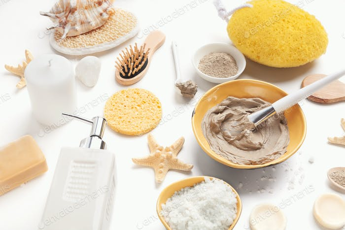 Preparing natural cosmetic mask on white background