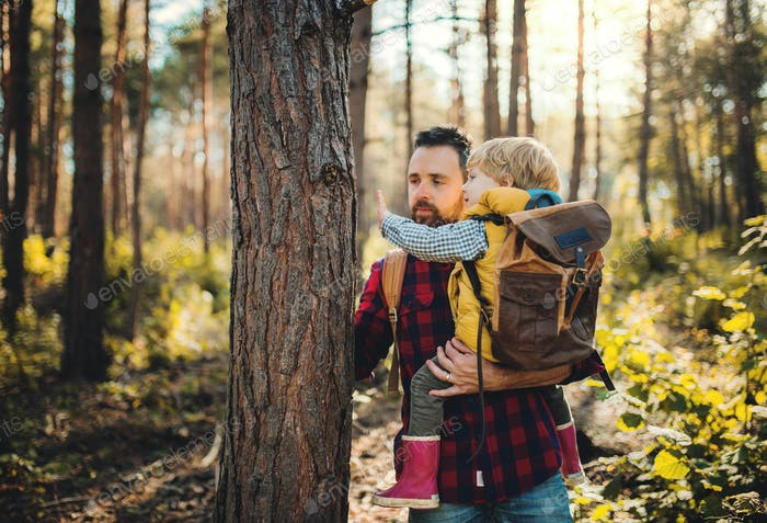 A mature father holding a toddler son by a tree in an autumn forest, talking.