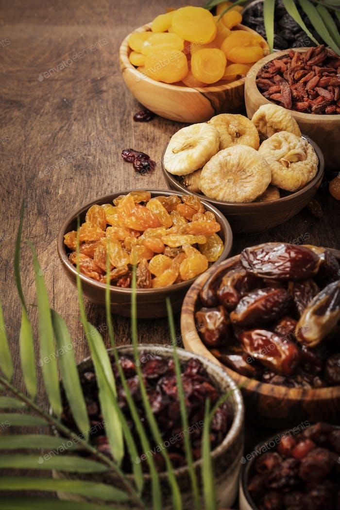 sun dried organic mix of dried fruits: apricots, figs, raisins