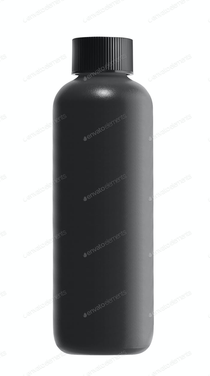 black bottle isolated on white background