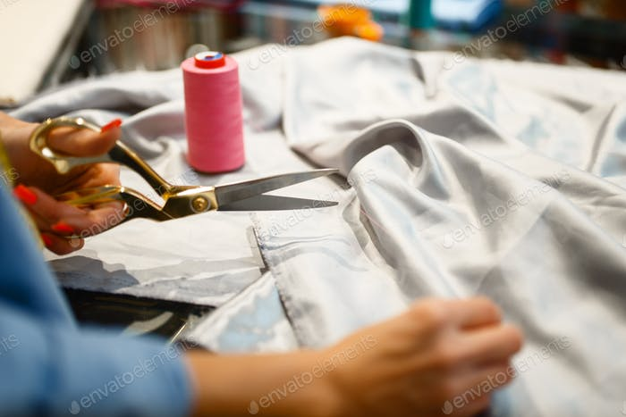 Thumbnail for Seamstress cuts fabric with scissors in store