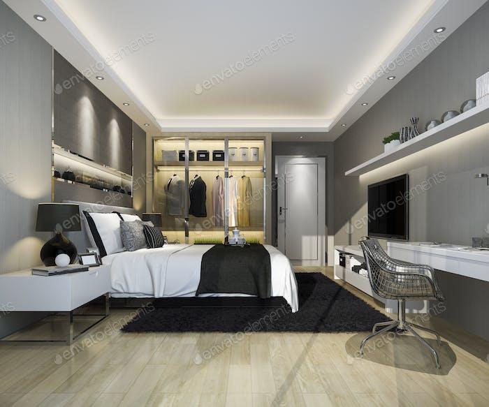 3D representación de lujo moderno dormitorio suite tv con armario empotrado y walk in closet