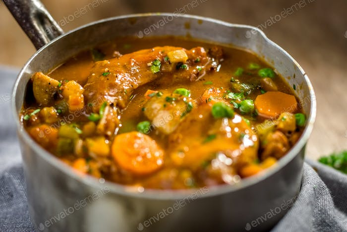 Homemade stew with meat and vegetables