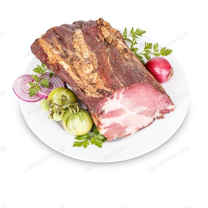 Smoked pork neck slices