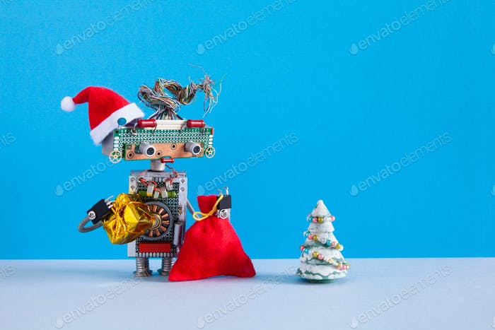Romantic female robot Santa Claus looking at Christmas tree.
