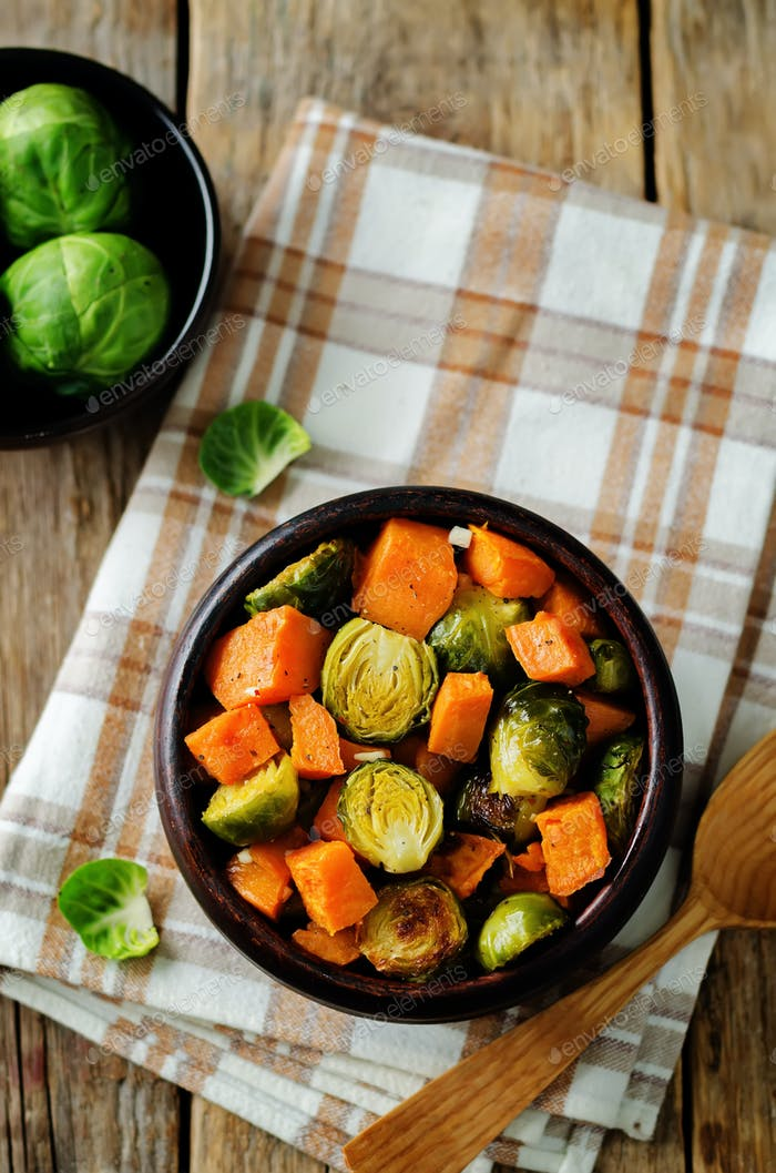 Roasted Sweet potato and Brussels Sprouts