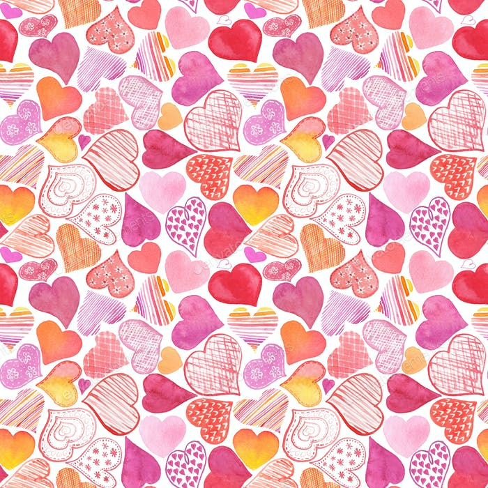 Seamless pattern with watercolor heart. Valentine's Day backgrou