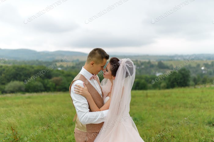 The bride and groom on a wedding walk. Loving couple hugs and look into each other's eyes.