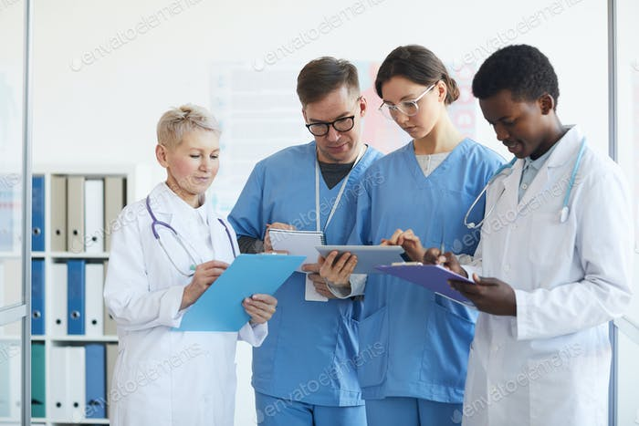 Multi-Ethnic Group of Doctors in Clinic
