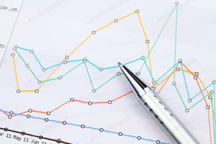 Gráfico gráfico y pluma