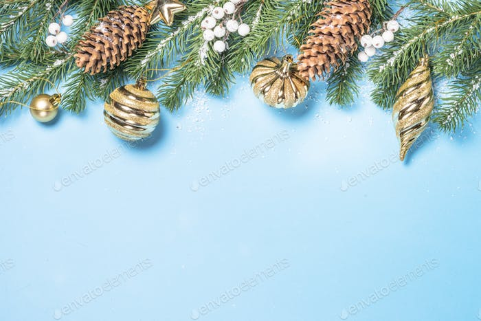 Christmas flatlay background - fir tree and golden decorations o