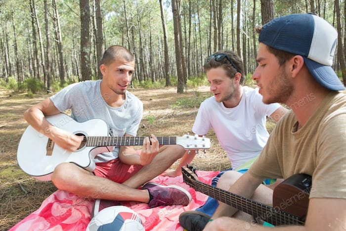 Male adolescents in woods paying guitars