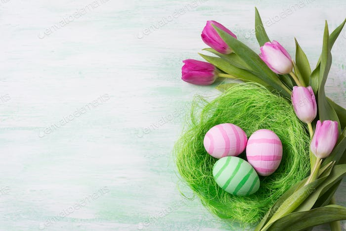Easter green pink eggs in the nest and tulips, copy space.