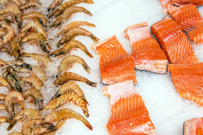 Salmon and shrimps at a market in Istanbul, Turkey