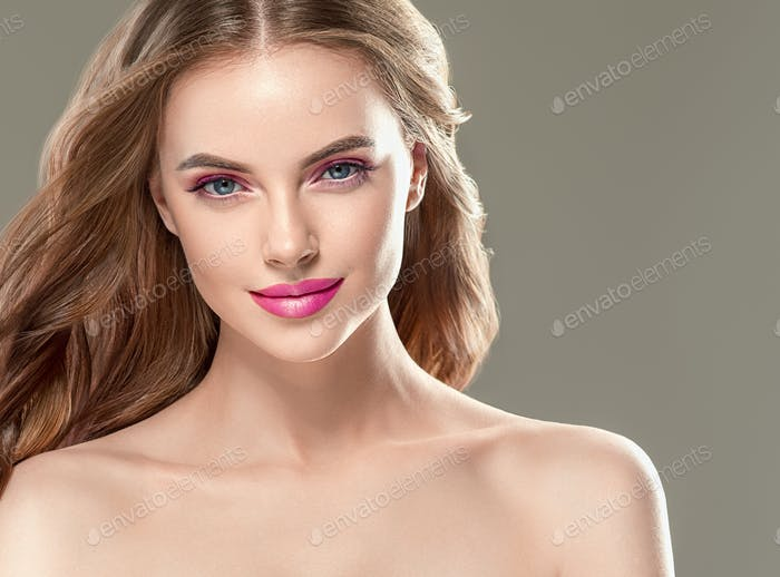 Pink Lipstick Woman Make up Beautiful Hair