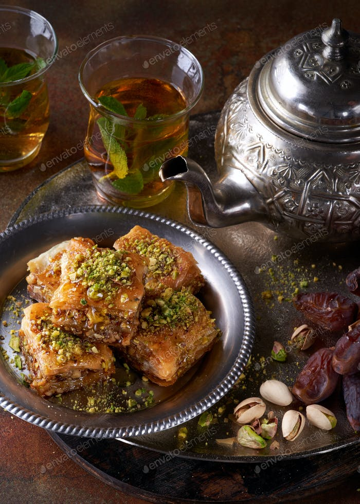 Baklava or baklawa. Ramadan Dessert.