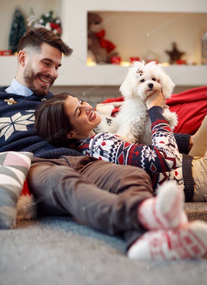 Christmas time- couple relaxing at home and playing with dog