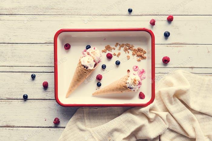 Berry ice cream in waffle cones