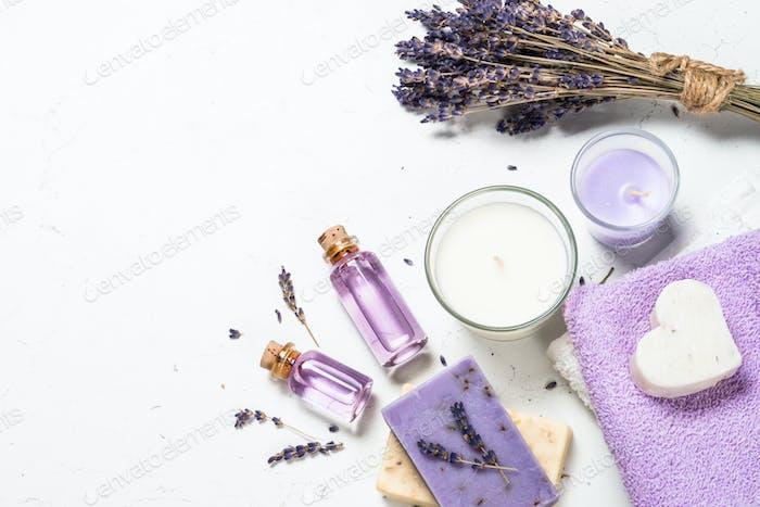 Lavender cosmetics on white background