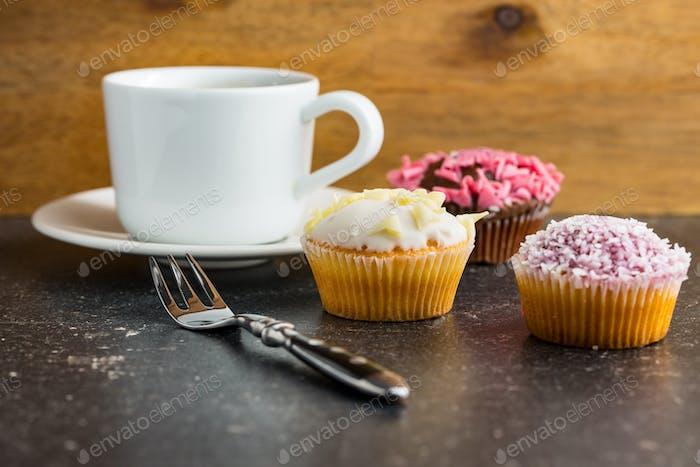 Tasty sweet cupcakes.