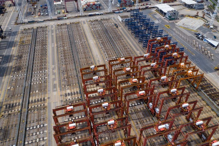 Kwai Tsing, Hong Kong 24 June 2020: Top down view of Hong Kong container port
