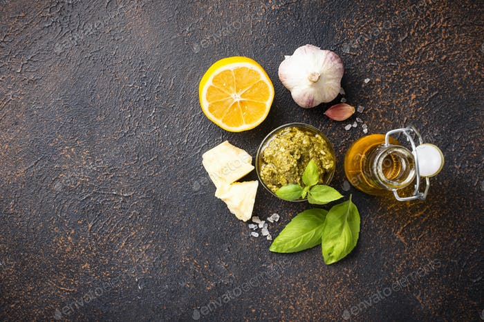 Homemade traditional Italian pesto sauce