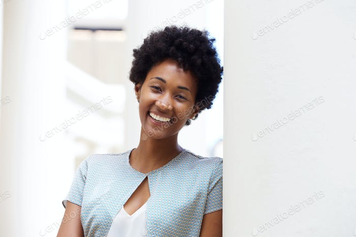 Attractive young african woman smiling